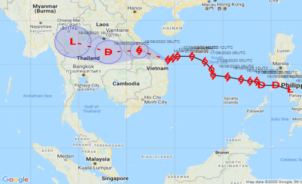 Tropical storm noul path Thailand